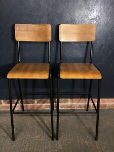 Pair Of Industrial Bar Stool Chairs Breakfast Bar Chairs
