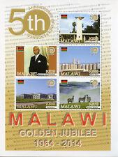 Malawi 2017 MNH Independence Golden Jubilee 5v M/S Zebras Politicians Stamps