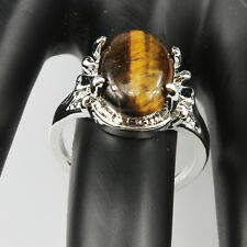 Tiger Eye Gemstone Fashion  Jewelry 925 Silver Men Women Ring Size 6