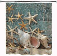 "Starfish Seashell Fabric Waterproof Shower Curtain Bath Decor with Hooks 71""x71"""