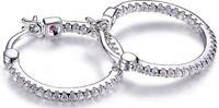ELLE Jewelry - Sterling Silver Inside Outside CZ Hoop Earrings