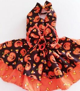 DOG DRESS HARNESS HAPPY PUMPKINS WITH MATCHING HAIR BOW