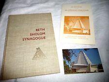lot of 3 BETH SHOLOM SYNAGOGUE ARCHITECT FRANK LLOYD WRIGHT ELKINS PARK PA 1959