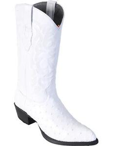 LOS ALTOS MEN WHITE GENUINE FULL QUILL OSTRICH WESTERN COWBOY BOOT J-TOE (EE)