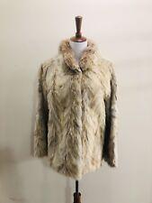 Women's Vintage Real Beige Coyote Short Fur Coat M or L