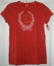 NWT Womens Red Christmas Holiday Deck the Halls Short Sleeve Crew T-Shirt Small