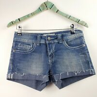 "Vigold Women's Cuffed Embellished Denim Jean Shorts Waist 28"" Stretch Size 5/6"