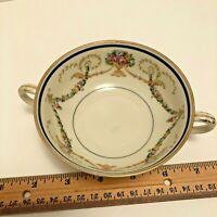Vintage Schlaggenwald small Soup bowl Czechoslovakia double handle floral EUC