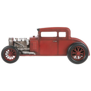 Red Vintage Race Car Metal Hanging Wall Decor Coupe Hot Rod Rat Rod
