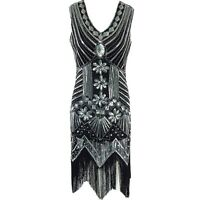 NEW 20S DRESS GATSBY VINTAGE LOOK CHARLESTON SEQUIN FLAPPER DRESS SIZE 4-20