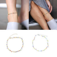 Bohemian Boho Crystal Stone Beads Ankle Chain Bracelet Anklet Foot Jewelry Gift