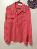 Liz Baker Womens Blouse Top Size 20 Tall Coral Long Sleeve Button Down Front 56