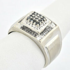 Modern Classic Elegant 10 K Solid Gold Diamond & Blue Sapphire Men's Ring