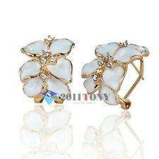 18K Rose Gold Plated Swarovski Crystal White Color Enamel Flower Leaves Earring