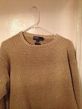 Polo by Ralph Lauren Tan Beige 100% Silk XL Crewneck Sweater L/S