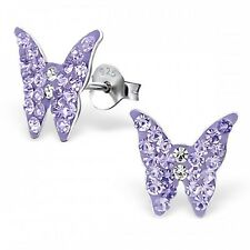 Childrens Girls Sterling Silver Butterfly Stud Earrings with Violet Crystals