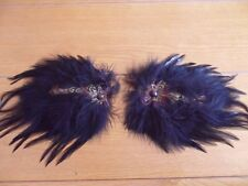 VINTAGE, PAIR BLACK FEATHER TRIMS, VELCRO™ ATTACHED ON LEATHER STRIP, HAT/COAT?