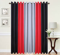 Eyelet curtains Ring Top Fully Lined Pair black Ready made PLAIN 3TONE RED BLACK