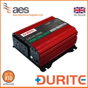 Durite 600W 12V DC to 230V AC Compact Sine Wave Voltage Inverter