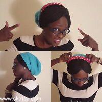 NEW! Unisex Knitted Satin Lined Slouch Beanie by Skatsz Aqua/Red