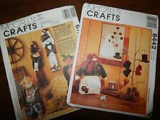 McCALLS Crafts 8442 6724 Snowman Quilt Ornaments Bungee Bells Doll Patterns +