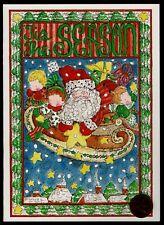 Vintage Christmas Santa Sleigh - Carolyn Blaylock - Christmas Greeting Card New