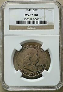 1949  US Franklin Half Dollar, 50 Cents, NGC MS 62 FBL