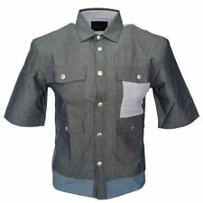 DIESEL WOMENS SHIRT SIZE SMALL IN GREY COTTON BLACK GOLD RRP £220 BRAND NEW TAGS