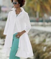 Ashro White Cotton Valere Hi-Lo Top Tunic Blouse Size S M L XL 1X 3X PLUS