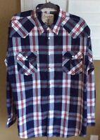Mens Coastal Plaid Blue White Red Long Sleeve Snap up Shirt XXL, Unworn Cond