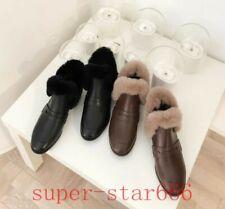 Warm Women Snow Boots Genuine Leather Flats Real Rabbit Fur Slip On Plush Shoes