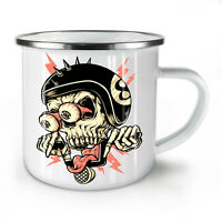 Biker Head Face Skull NEW Enamel Tea Mug 10 oz | Wellcoda