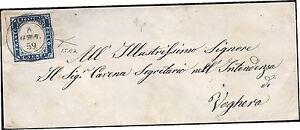 SARDEGNA 1859 20 c. n.15Aa SORIASCO x VOGHERA punti 9 SPL BOTTACCHI RARA € 1.490