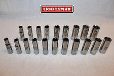 NEW Craftsman 20 pc 3/8 Drive DEEP Socket Set Metric & SAE 6 point LASER ETCHED