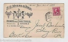 F. E. Myers Farming Equipment Agriculture Tools Antique Advertising Mail Cover 1