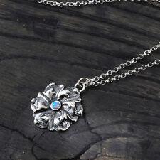 Vintage Style Blue Fire Opal Flower Pendant 925 Sterling Silver Necklace Y878