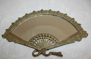 Vintage Beautiful Small boudoir mirror bronze Spain Decorated With Pattern Used