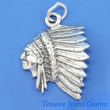 NATIVE AMERICAN INDIAN CHIEF HEAD w HEADDRESS .925 Sterling Silver Charm Pendant