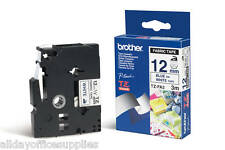 Brother P-touch TZe-FA3 Iron on Fabric (12mm x 3m) Blue On White Fabric Tape