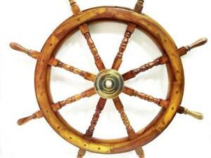 "36"" Nautical Marine Wooden Steering Ship Wheel ~ Pirate Captain Ship Wall Decor"