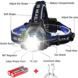 350000LM Super Bright Waterproof Head Torch Headlight LED Rechargeable Headlamp