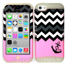 For Apple iPhone 5c KoolKase Hybrid Silicone Cover Case - Chevron Anchor 01