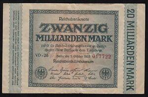 20-Milliarden Mark 1923 Ro 115b Pick 118 Serie VD-28  F (4)   (15411