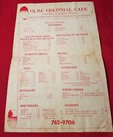 Old Colonial Cafe vintage menu - Since 1969 - 171 Nahatan St, Norwood, Mass.