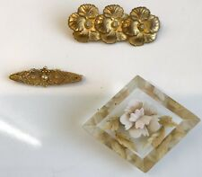 Three Vintage Brooches Gold Poppies, Embedded Flower, Gold Bobble Bar