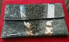 ASOS bag Clutch Multi beads sequins Leather Grey Christmas Party