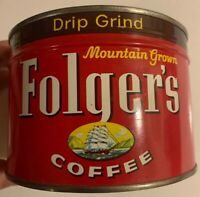 1959 Sealed Mountain Grown Folgers Coffee Can Unopened Key-wind NOS Full