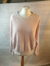 Topshop Pink Cotton Round Neck Long Sleeve Chunky Knit Oversized Jumper Size 10