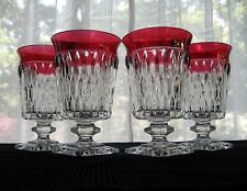 Indiana Glass 4 Clear Ruby Flash Band Mount Vernon Footed Iced Tea Tumblers