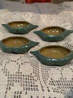 Arts & Crafts~Art Pottery Serving Dish Set~4~Crab Motif~Green~Mustard~Antique